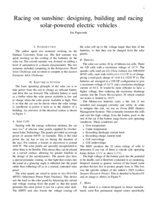 Racing on sunshine: designing, building and racing solar-powered electric vehicles