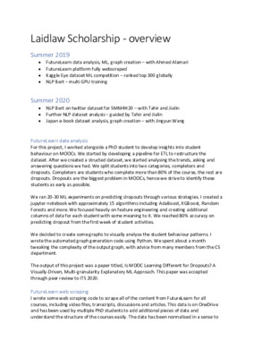 Laidlaw Scholarship overview