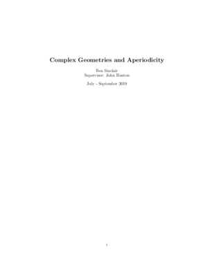 Complex Geometries and Aperiodicity (End of Year 1 Report)