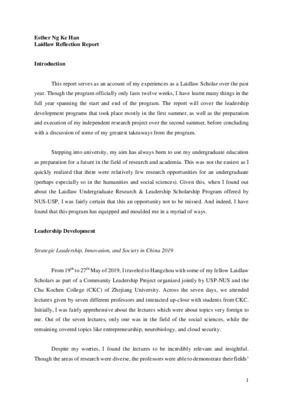 Esther Ng_Laidlaw Reflection Report_Final