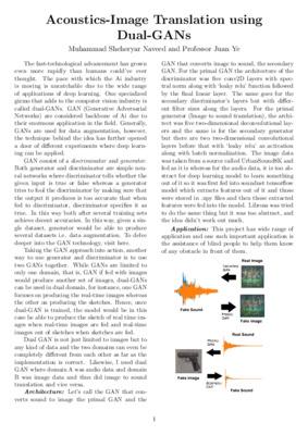 Acoustics-Image Translation using Dual-GANs