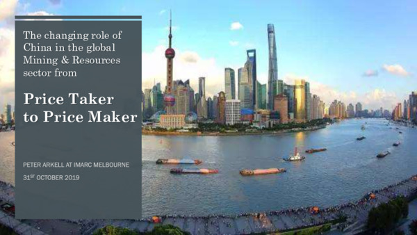 The changing role of China in the global mining and resources sector: From price taker to price maker