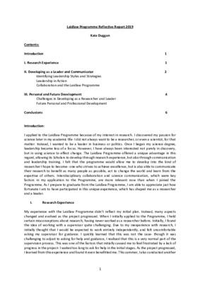 Laidlaw Reflective Report