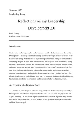 Reflections on my Leadership Development - Summer 2020