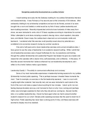 Hannah Pedone 2020 Laidlaw Leadership Essay
