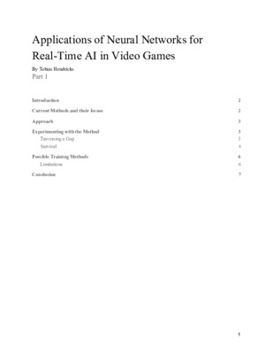 Project Report: Applications of Neural Networks for Real-Time AI in Video Games