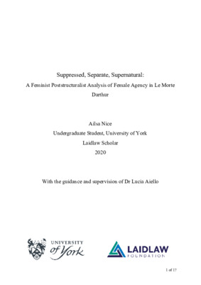 Suppressed, Separate, Supernatural: A Feminist Poststructuralist Analysis of Female Agency in Le Morte Darthur