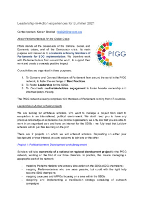 Leadership-in-Action Project: Parliamentarians for the Global Goals