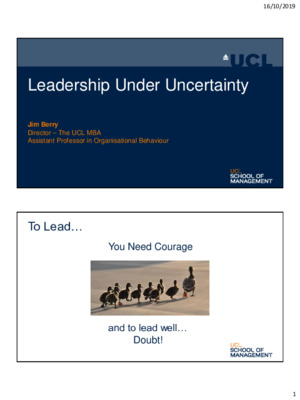 James Berry - Leadership Under Uncertainty