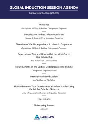 Global Induction Session 2020 Agenda