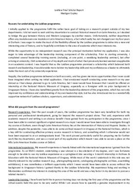 M Copley - Scholar Report