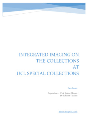 Report: Integrated Imaging on Collections From UCL Special Collections