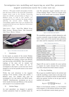 Investigation into modelling and improving an axial flux permanent magnet synchronous motor for a solar race car