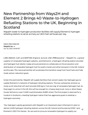 New Partnership from Ways2H and Element 2 Brings 40 Waste-to-Hydrogen Refueling Stations to the UK, Beginning in Scotland