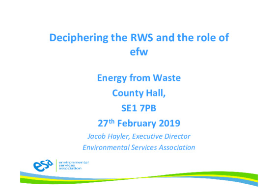 EfW 2019: Deciphering the resources and waste strategy and the role of EfW