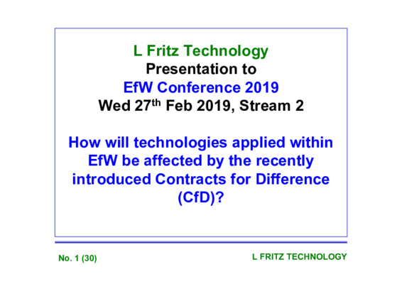 EfW 2019: How will technologies applied within EfW be affected by the recently introduced Contracts for Difference (CfD)?