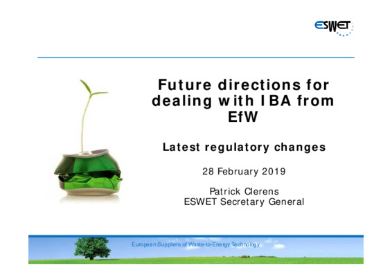 EfW 2019: Future directions for dealing with residues (IBA) from EfW