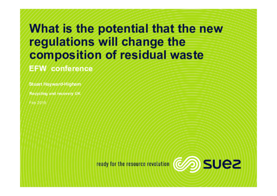 EfW 2019: What is the potential that the new regulations will change the composition of residual waste?