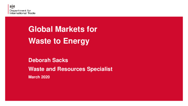 Global markets for waste to energy
