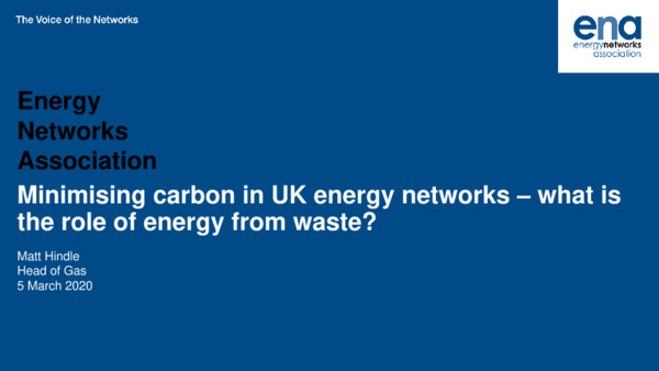 Keynote: Minimising carbon in UK energy networks – what's the role of energy from waste?