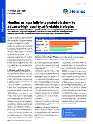 Henlius: using a fully integrated platform to advance high-quality, affordable biologics
