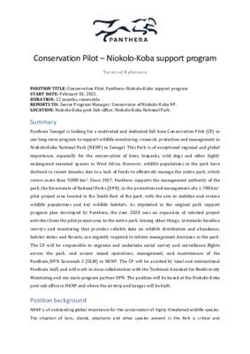 Job opportunity: Conservation Pilot