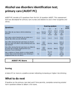 Alcohol use disorders identification test  consumption (AUDIT PC)