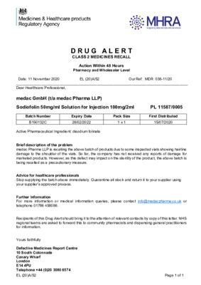 Class 2 Medicines Recall: Sodiofolin 50mg/ml Solution for Injection 100mg/2ml