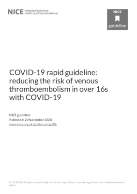 COVID-19 rapid guideline: reducing the risk of venous thromboembolism in over 16s with COVID-19