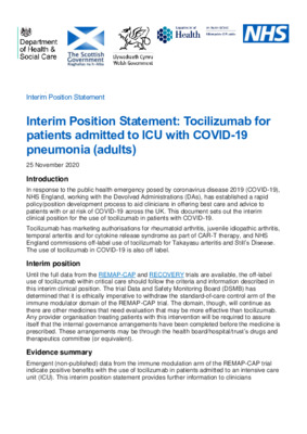 Interim position statement: Tocilizumab for patients admitted to ICU with COVID-19 pneumonia (adults)