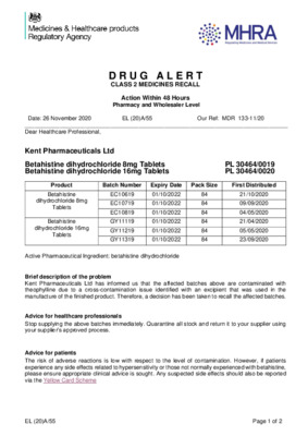 Class 2 Medicines Recall: Kent Pharmaceuticals Ltd, Betahistine dihydrochloride 8mg and 16mg Tablets