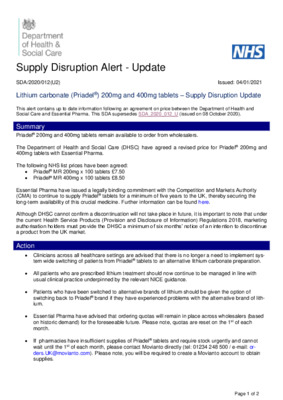 Supply Disruption Alert - update: Lithium carbonate (Priadel) 200mg and 400mg tablets