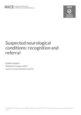Suspected neurological conditions: recognition and referral (Quality standard)