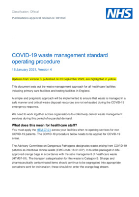 COVID-19 waste management standard operating procedure [v4]