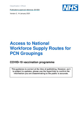Access to National Workforce Supply Routes for Primary Care Network (PCN) Groupings