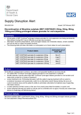 Supply Disruption Alert: Discontinuation of all strengths of MST Continus® prolonged release granules for oral suspension