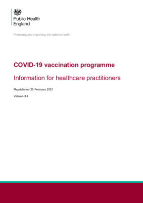 COVID-19 vaccination: information for healthcare practitioners – updated (v3.4)