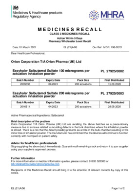 Class 3 Medicines Recall: Easyhaler Salbutamol Sulfate 100 micrograms per actuation/200 micrograms per actuation inhalation powder