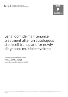 Lenalidomide recommended for newly diagnosed multiple myeloma