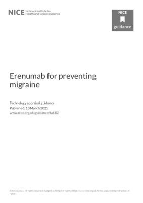 Erenumab recommended for preventing migraine in adults