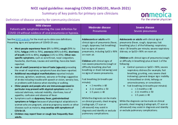 NICE guideline on managing COVID-19 – Summary of key points for GPs