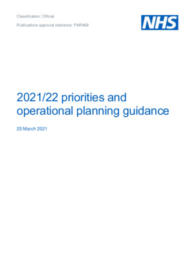 NHS 2021/22 priorities and operational planning guidance
