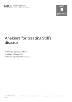 Anakinra recommended for Still's disease