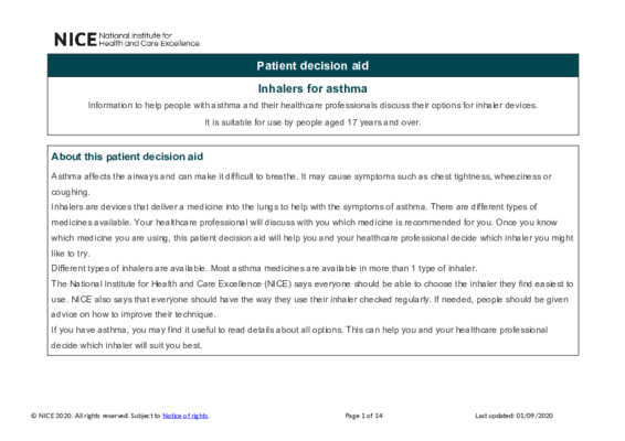 Inhalers for asthma – Patient decision aid