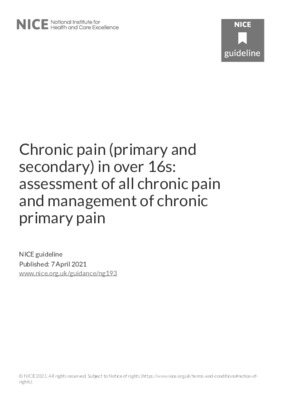Chronic pain (primary and secondary) in over 16s: assessment of all chronic pain and management of chronic primary pain