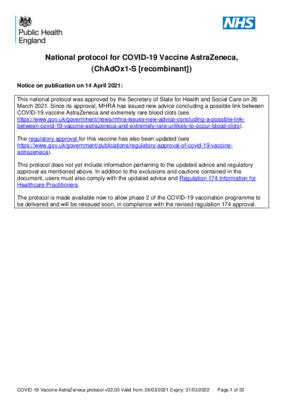 National protocol for COVID-19 Vaccine AstraZeneca (ChAdOx1-S [recombinant]) [v2]