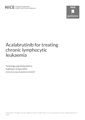 Acalabrutinib recommended for chronic lymphocytic leukaemia in adults