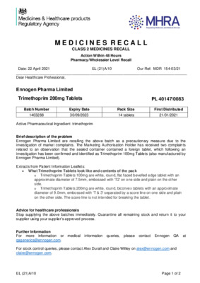 Class 2 Medicines Recall: Ennogen Pharma Limited, Trimethoprim 200mg Tablets