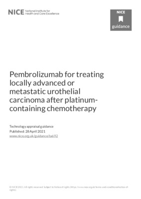 Pembrolizumab not recommended for locally advanced or metastatic urothelial carcinoma in adults