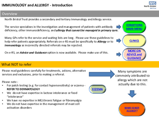 Immunology and allergy referral guidelines summary
